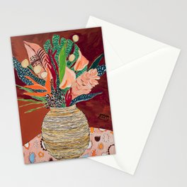 Autumnal Bouquet of Flowers in Woven Basket Vase on Warm Auburn Rust Still Life Fall Floral Painting Stationery Cards