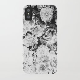 Black gray modern watercolor roses floral pattern iPhone Case