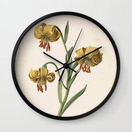 M. de Gijselaar - Branch with three yellow lilies (1834) Wall Clock