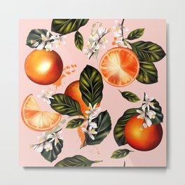 Citrus paradise. Tropical pattern with oranges Metal Print