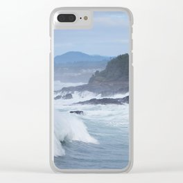 Crashing Waves In Blue Clear iPhone Case