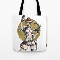 lara croft Tote Bags featuring Lara Croft Indy by Juan Pablo Cortes