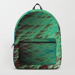 Run Off - Teal and Brown - Fractal Art Backpack