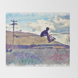 Graffitti Glide Stunt Scooter Sports Artwork Throw Blanket