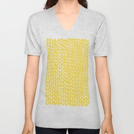 Hand Knit Yellow Unisex V-Neck