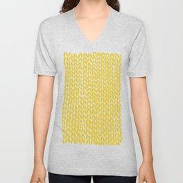 Hand Knit Yellow Unisex V-Neck