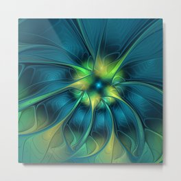 Flourish and Blue, Abstract Fractal Art Metal Print