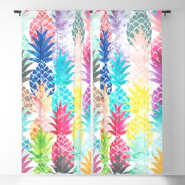 Hawaiian Pineapple Pattern Tropical Watercolor Blackout Curtain