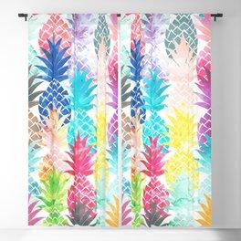 Hawaiian Pineapple Pattern Tropical Watercolor Blackout Curtain
