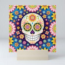 Sugar Skull with Flowers - Colorful Art by Thaneeya McArdle Mini Art Print