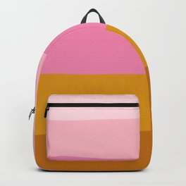 Abstract Organic Color Blocking in Pink and Honey Gold Backpack