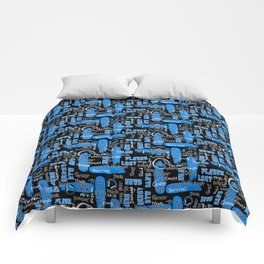 Gamer Lingo-Black and Blue Comforters