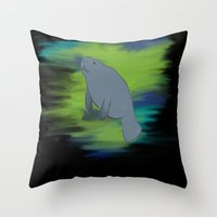 manatee Throw Pillows featuring manatee by JadeRose