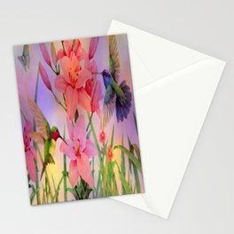 Painterly Hummingbirds And Flowers Stationery Cards