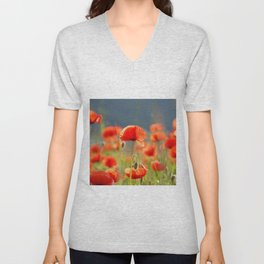 Red Poppies Flowers Unisex V-Neck