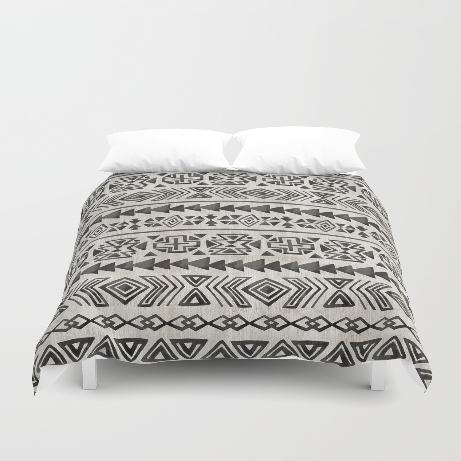 Boho Tribal Black Cream Geometric Print Ink Tribal Decor Duvet Cover By Cateandrainn Society6