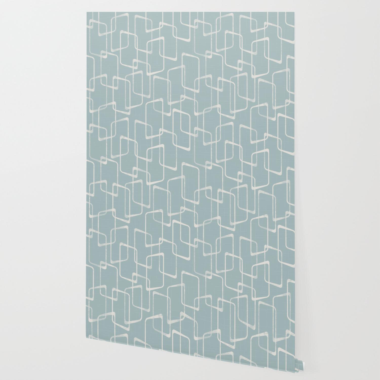 Mid Century Dusty Blue Gray Geometric Pattern Wallpaper