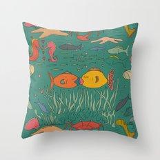 Fishy Kisses Throw Pillow