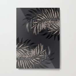 Gray Black Palm Leaves with Rose Gold Glitter #6 #tropical #decor #art #society6 Metal Print