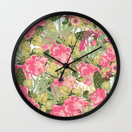 Country botanical pink forest green roses floral greenery Wall Clock