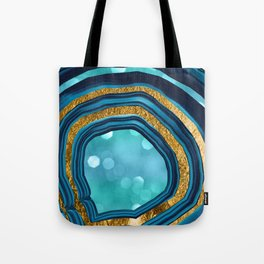 Agate Aqua Blue Gold #1 #abstract #shiny #decor #art #society6 Tote Bag