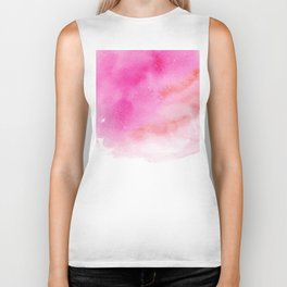 Ink in Water. Pink Watercolour Abstract Print. Biker Tank