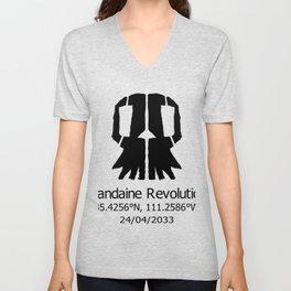 Mandaine Revolution Skull Logo Unisex V-Neck