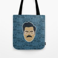 parks and recreation Tote Bags featuring Ron Swanson - Parks and recreation by Kuki