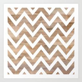 woodgrain cheveron Art Print