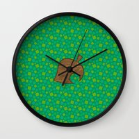 animal crossing Wall Clocks featuring Animal Crossing Spring Grass by Rebekhaart