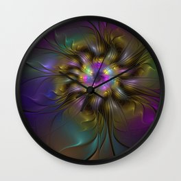Colorful, Abstract Fractals Art Flower Wall Clock