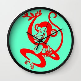 Red Monkey Wall Clock