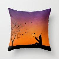 dream catcher Throw Pillows featuring Dream Catcher. by Nancy Woland
