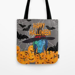 Bats & Witch Happy Halloween Tote Bag