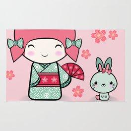 Kokeshi doll - Keiko e Usagi Rug