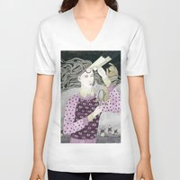 glasses V-neck T-shirts featuring Glasses by Yuliya