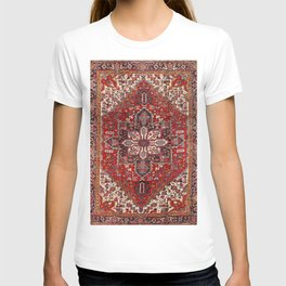 Persia Heriz 19th Century Authentic Colorful Blue Red Cream Vintage Patterns T-shirt