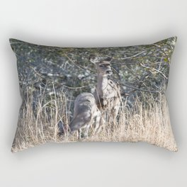 Baby doe eats while mother deer watches over. Rectangular Pillow