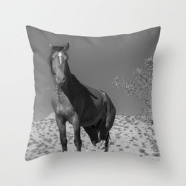 Wild_Horses B & W 3501 - Nevada Throw Pillow