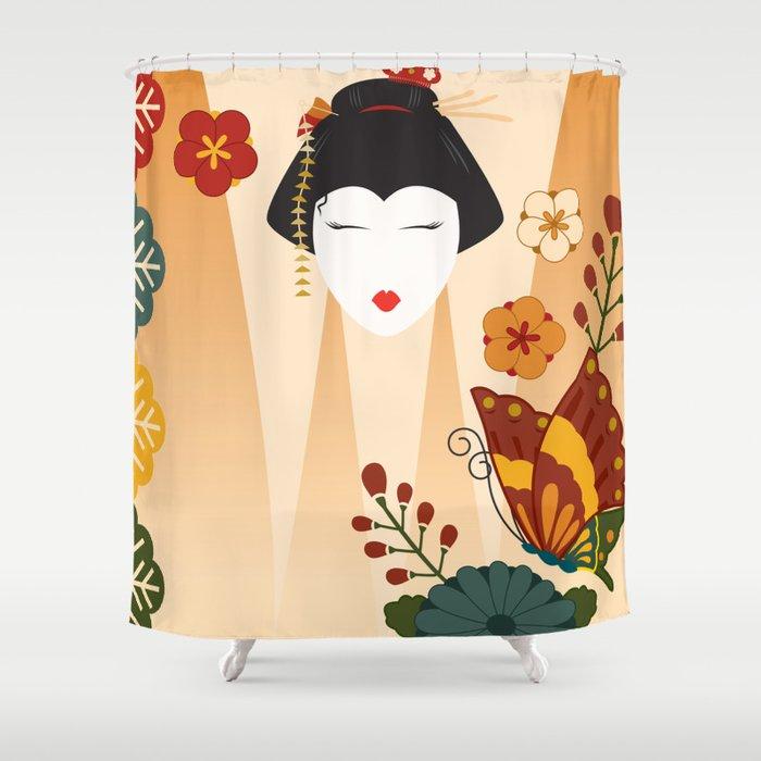Geisha Shower Curtain By Ashleyhay
