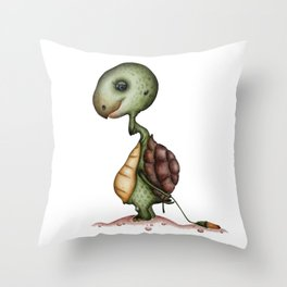 Tortoise with flower Throw Pillow
