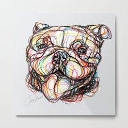 english bulldog line style - bulldog inglese - bulldog anglais - bulldog Inglés Metal Print