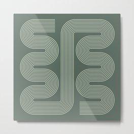 Geometric Lines in Sage Green 16 (Mid century Midern Rainbow Abstract) Metal Print