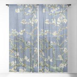 Almond Blossom - Vincent Van Gogh (blue pastel) Sheer Curtain
