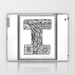 Zentangle I Monogram Alphabet Initial Laptop & iPad Skin