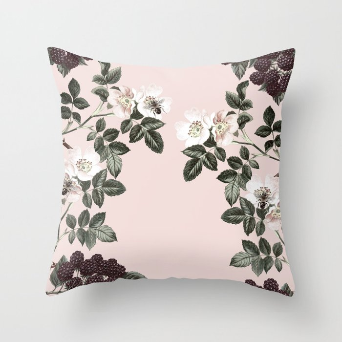 Bees + Blackberries on Pale Pink Throw Pillow