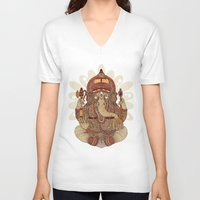ganesha V-neck T-shirts featuring Ganesha: Lord of Success by Valentina Harper