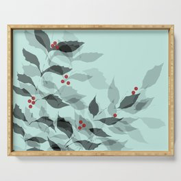 Leaves with Christmas Berries Serving Tray
