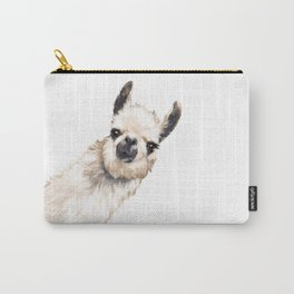 Sneaky Llama White Carry-All Pouch