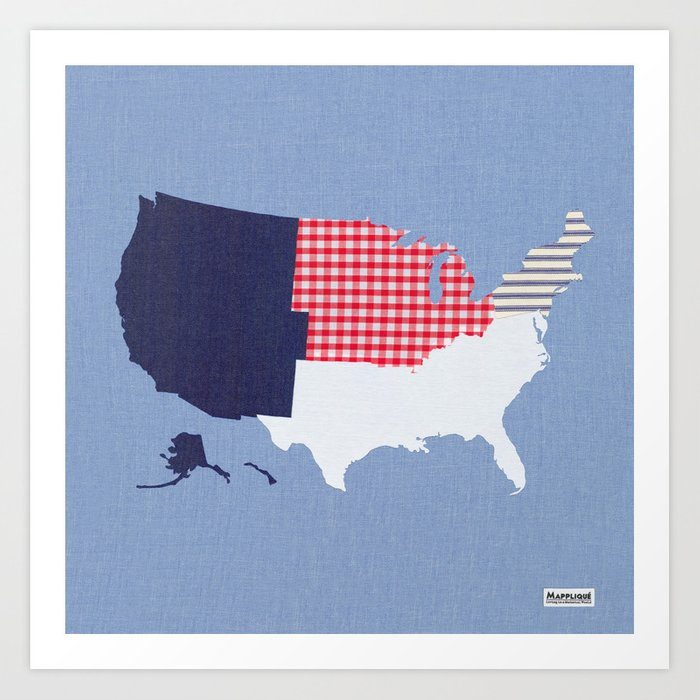 USA Regions Fabric Map Art Art Print by mapplique | Society6